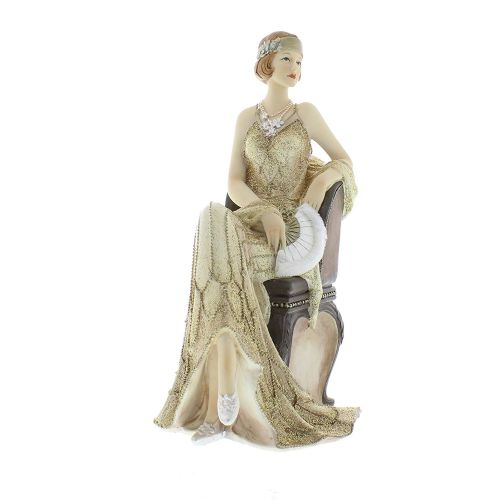 Cream and Gold Lady Figurine art deco Broadway Belles Juliana ornament Gaynor 58433